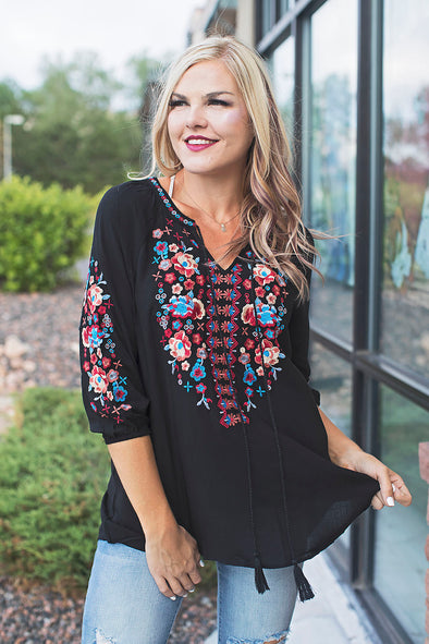 Lillie Avenue Black Embroidered Top