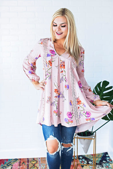 Blush Floral Pleated Tunic