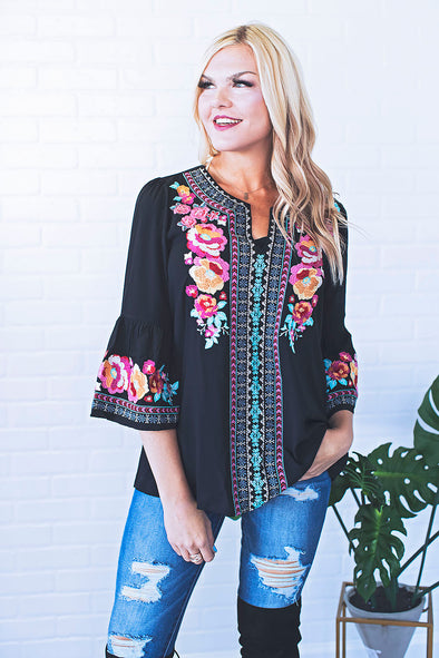 Melissa Black Embroidered Top