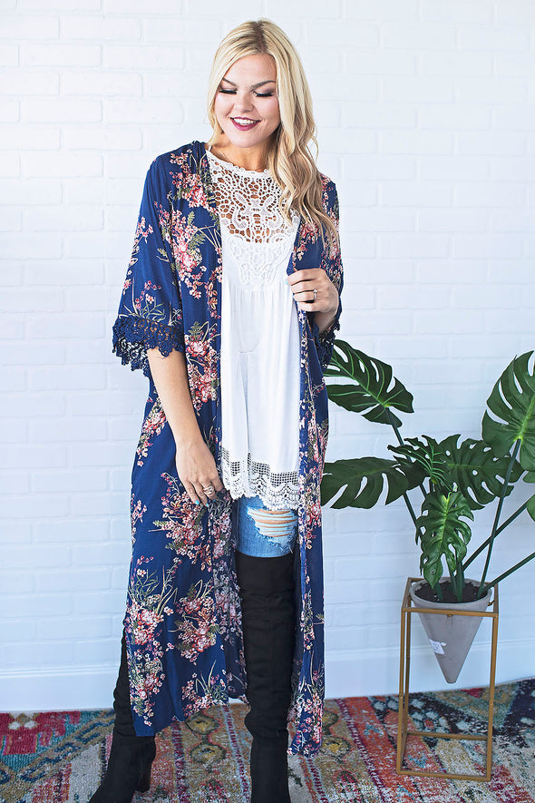 Blue Floral Long Cardigan *SPECIAL OF THE DAY*