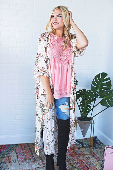Ivory Floral Long Cardigan