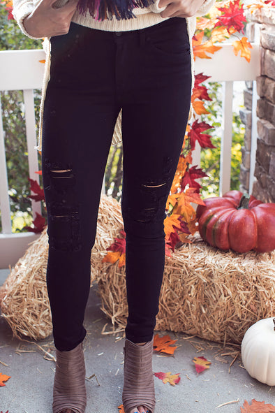 Black Distressed Bottoms