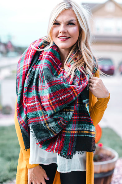 Green Burgundy Black  Blanket Scarf