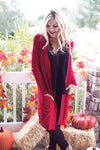 Red Knit Long Cardigan
