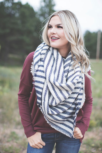 Navy Stripe Blanket Scarf
