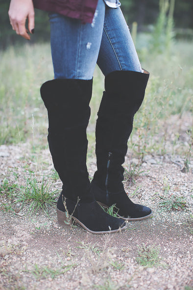Miranda Fall Over Knee Black Boot