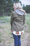 Olive Grey Hooded Jacket Fall