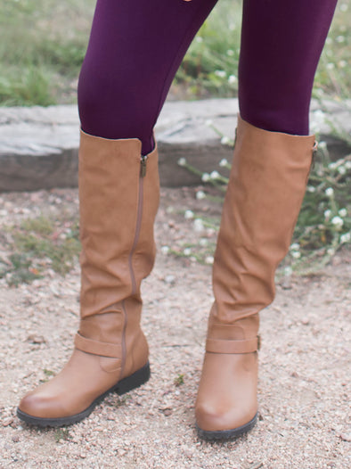 Tan Buckle Boots