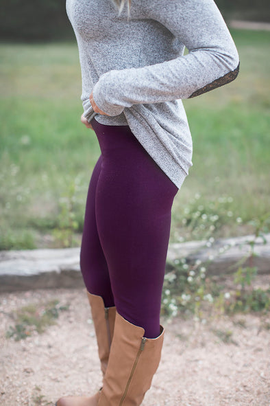 Plum Fleece Leggings