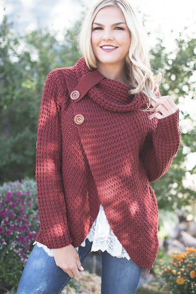 Waffle Knit Button Sweater Rust
