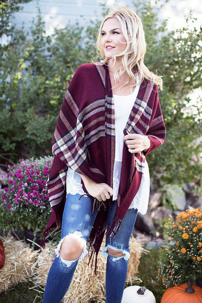Fall Plaid Dark Burgundy Poncho