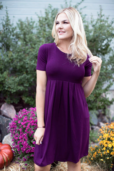 Fall Pleated Dress Dark Plum