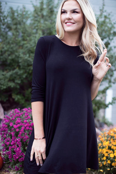 Fall 3/4 Sleeve Tunic Black