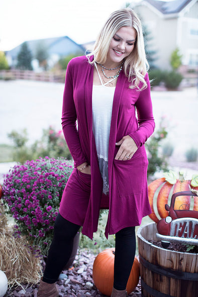 Fuschia Loose Knit Cardigan