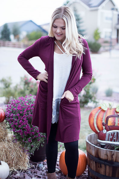 Burgundy Loose Knit Cardigan