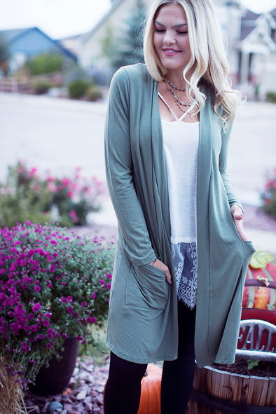Sage Loose Knit Cardigan