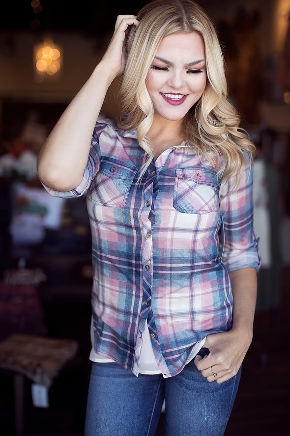Mauve and White Flannel Top