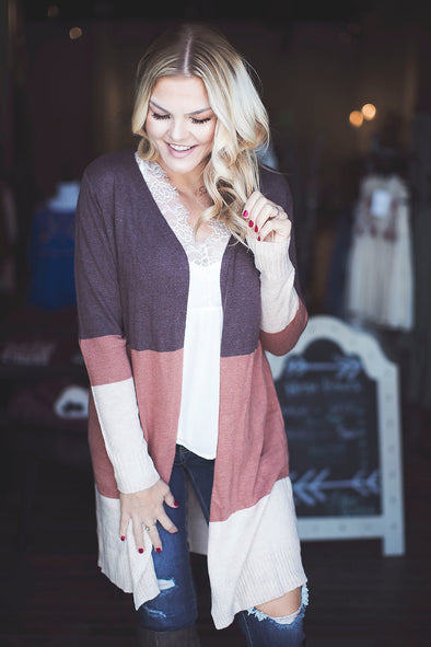 The Perfect Fall Color Block Sweater Cardigan