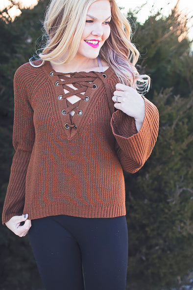 Brown criss cross sweater