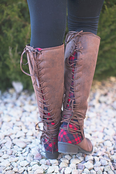 Plaid Brown Boots