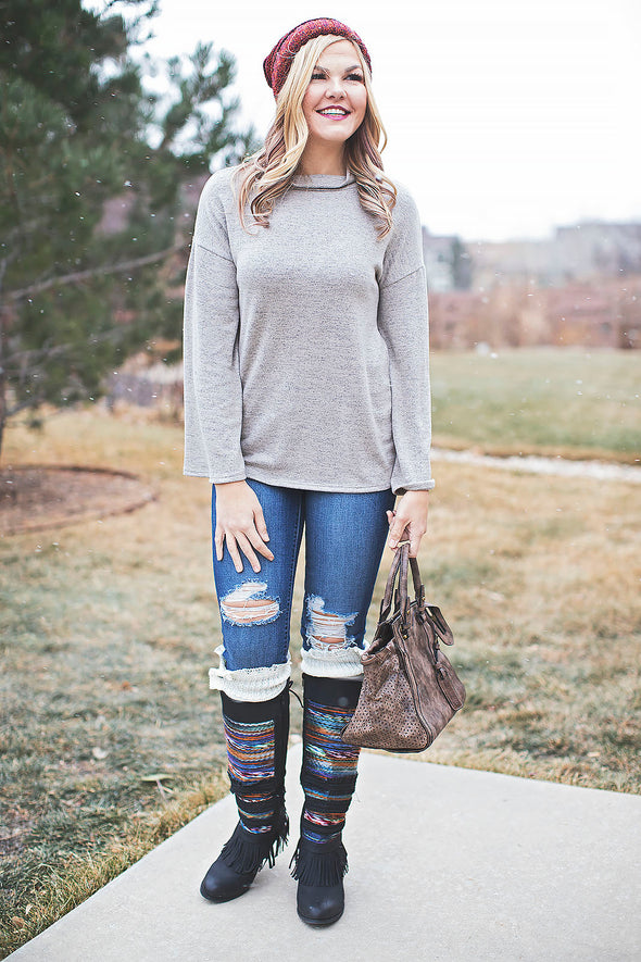 Taupe cozy belle sleeve top