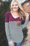 Maroon elbow patch stripe top