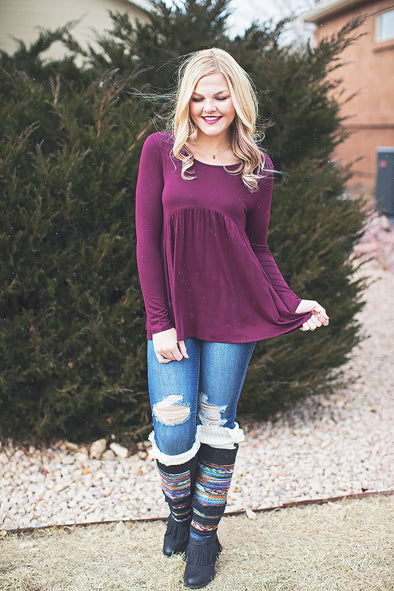 Dark berry babydoll top