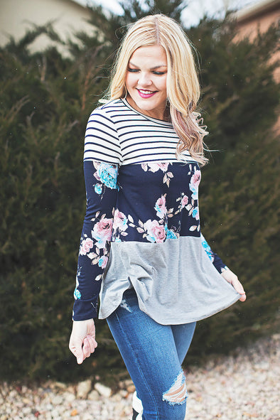 Grey stripe floral color block top