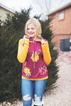 Mustard/Burgundy Floral Hooded Top