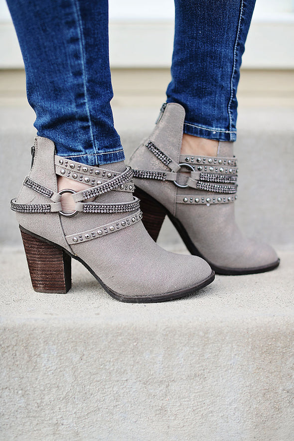 Shimmer Sparkle Taupe Booties