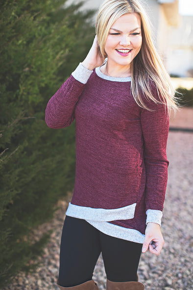 Long Sleeve Round Neck Split Front Sweater (Burgundy)