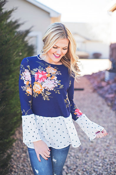 Navy feather print floral top