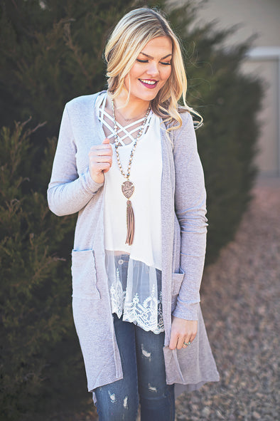 Mushroom long button cardigan
