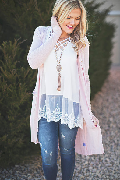Blush long button cardigan
