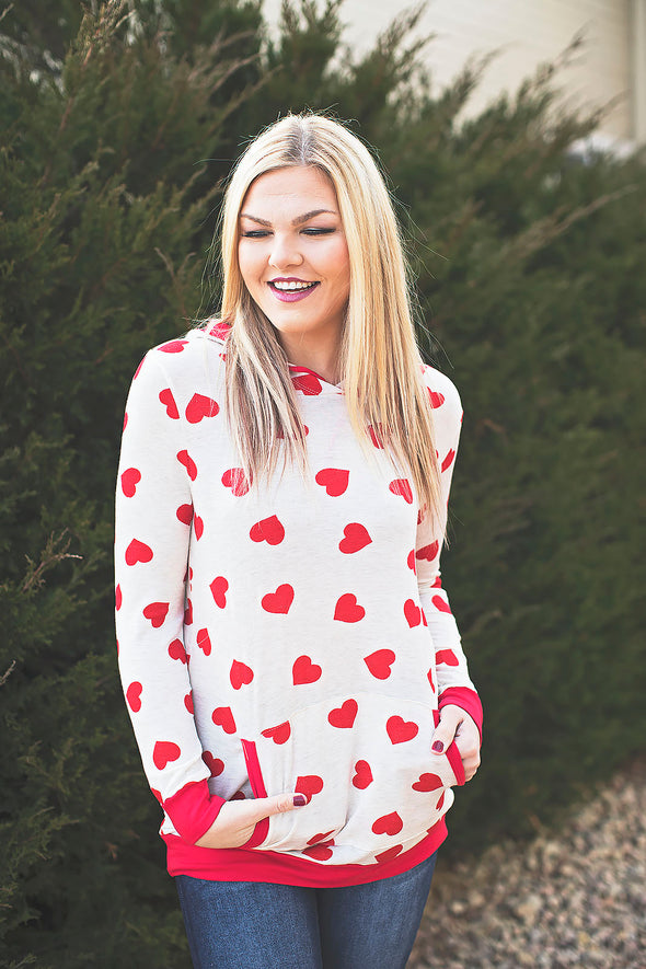 Valentine heart hooded top