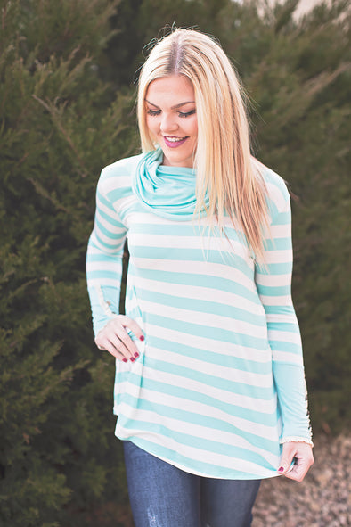 Cowl neck stripe top (mint)