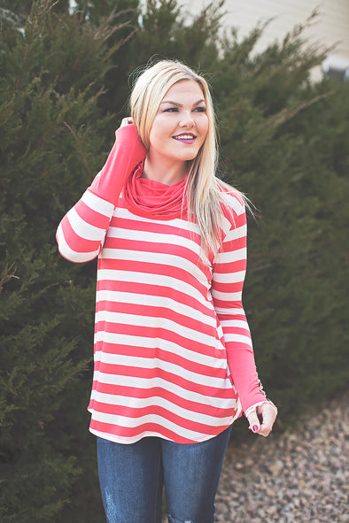 Cowl neck stripe top (coral)