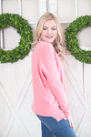 Cozy day v neck sweater coral pink