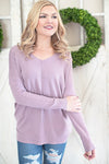 Cozy day v neck sweater violet