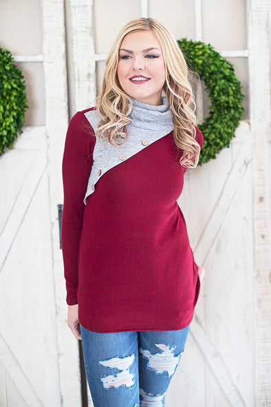 Grey/Burgundy Cowl Button Top