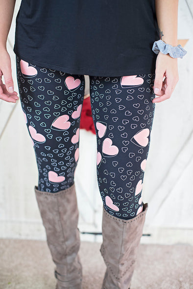Darling pink heart leggings (Mommy and Me)