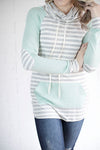 Mint and grey stripe cowl top