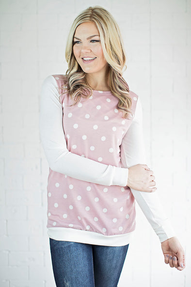 Sienna polka a dot top (pink)