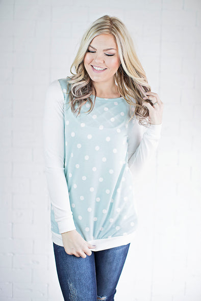 Sienna polka a dot top (mint)