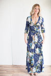 Navy floral 3/4 sleeve maxi wrap dress