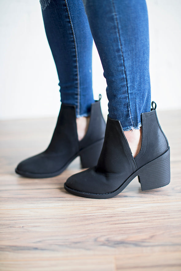 Black v cut booties