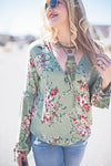 Amanda mint and floral top