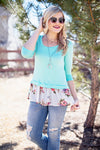 Mint floral trim top