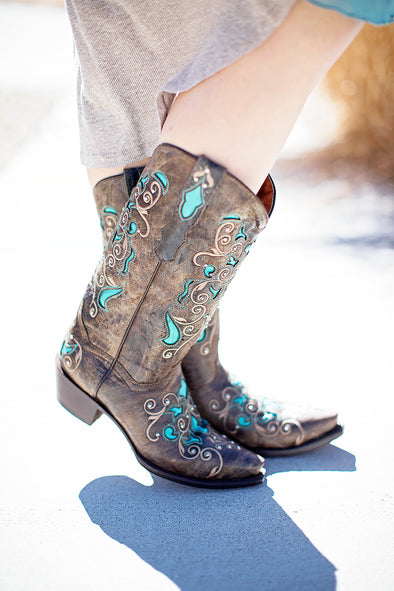 Leather western brown turquoise boot