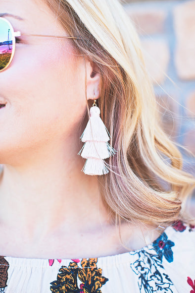 Blush 3 tassel earrings